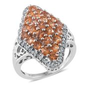 Orange Sapphire, Cambodian Zircon Platinum Over Sterling Silver Ring (Size 9.0) TGW 4.16 cts.