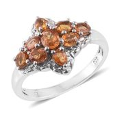 Orange Sapphire Platinum Over Sterling Silver Ring (Size 9.0) TGW 2.30 cts.