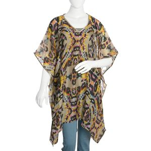 Khaki Digital Printed Abstract 100% Natural Mulberry Silk V-Neck Poncho with Sequins Outline (One Size)