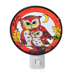 Owl Printed Iron and Stained Glass Night Lamp (3.94x5.31 in)
