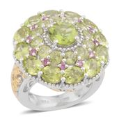 Hebei Peridot, Orissa Rhodolite Garnet 14K YG and Platinum Over Sterling Silver Ring (Size 10.0) TGW 7.75 cts.