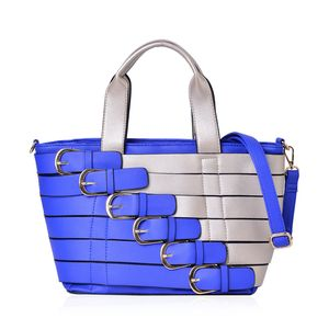 Blue and Silver Faux Leather Buckle Belt Tote with Removable Shoulder Strap (48in) and Standing Studs(11x6x9 in)