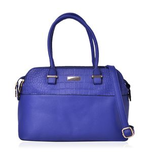 Blue Faux Leather Shoulder Bag (13.4x5x9 in)