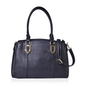 Black Faux Leather Triple Compartment Shoulder Bag with Removable Strap (47in) and Standing Studs (14x6x10 in)