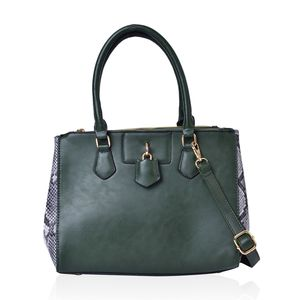 Dark Green with Snake Skin Pattern Faux Leather Tote Bag (11.5x5.4x9.3 in)