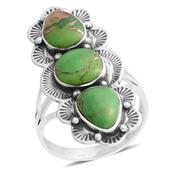 Santa Fe Style Mojave Green Turquoise Sterling Silver Ring (Size 10.0) TGW 2.50 cts.