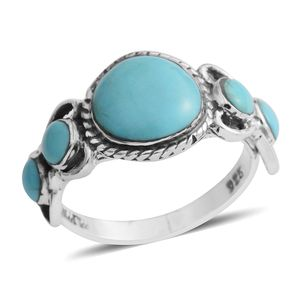 Santa Fe Style Kingman Turquoise Sterling Silver Ring (Size 9.0) TGW 1.50 cts.