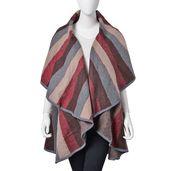 Maroon, Gray, and Tan 100% Acrylic Striped Waved Drape Kimono (One Size)