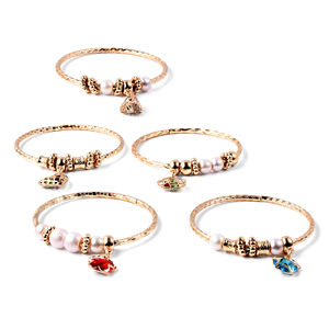One Time Only Set of 5 Blue and Red Glass, Multi Color Austrian Crystal Goldtone Diamond Cut Bangles with Charms (8 in)
