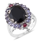 Thai Black Spinel, Multi Gemstone Platinum Over Sterling Silver Ring (Size 7.0) TGW 11.71 cts.
