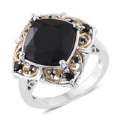 Thai Black Spinel 14K YG and Platinum Over Sterling Silver Ring (Size 10.0) TGW 9.40 cts.