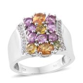 Multi Sapphire, Cambodian Zircon Platinum Over Sterling Silver Ring (Size 9.0) TGW 3.07 cts.