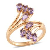 Bolivian Amethyst ION Plated YG Stainless Steel Bypass Ring (Size 6.0) TGW 1.86 cts.