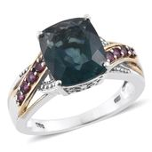 Belgian Teal Fluorite, Orissa Rhodolite Garnet 14K YG and Platinum Over Sterling Silver Ring (Size 9.0) TGW 6.85 cts.