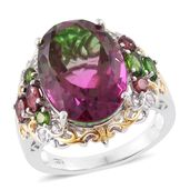 Watermelon Quartz, Multi Gemstone 14K YG and Platinum Over Sterling Silver Ring (Size 10.0) TGW 14.83 cts.