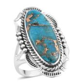 Santa Fe Style Mojave Blue Turquoise Sterling Silver Ring (Size 8.0) TGW 2.50 cts.