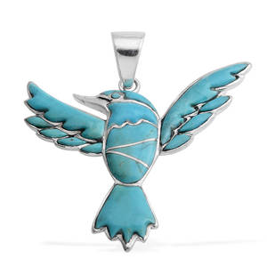 Santa Fe Style Kingman Turquoise Sterling Silver Thunderbird Pendant without Chain Total Gem Stone Weight 13.05 Carat