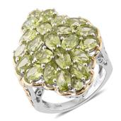 Hebei Peridot 14K YG and Platinum Over Sterling Silver Elongated Cluster Ring (Size 7.0) TGW 11.06 cts.