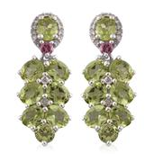 Hebei Peridot, Pink Tourmaline, Cambodian Zircon Platinum Over Sterling Silver Earrings TGW 7.03 cts.