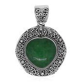 Bali Legacy Collection Burmese Green Jade Sterling Silver Pendant without Chain TGW 10.94 cts.