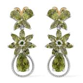 Hebei Peridot, Russian Diopside 14K YG and Platinum Over Sterling Silver Dangle Earrings TGW 7.46 cts.