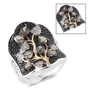 Bekily Color Change Garnet, Thai Black Spinel, Cambodian Zircon 14K YG and Platinum Over Sterling Silver Tree Concave Ring (Size 8.0) TGW 4.46 cts.