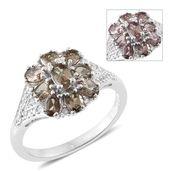 Bekily Color Change Garnet, Cambodian Zircon Platinum Over Sterling Silver Floral Ring (Size 7.0) TGW 2.37 cts.