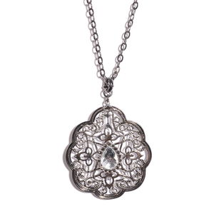 Simulated Silver Sapphire, Austrian Crystal Silvertone Pendant with Station Necklace (38-40 in)