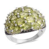 Hebei Peridot, Thai Black Spinel Black Rhodium Over and Sterling Silver Ring (Size 10.0) TGW 10.33 cts.