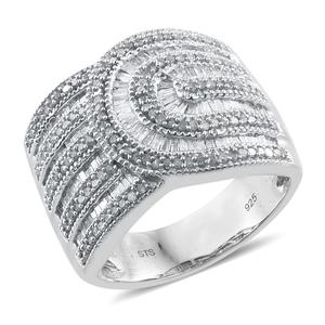 One Day TLV Diamond Platinum Over Sterling Silver Ring (Size 10.0) TDiaWt 1.00 cts, TGW 1.00 cts.
