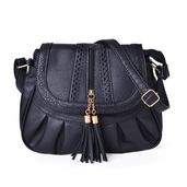 Black Laser Cut Faux Leather Fold Over Pleated Saddle Bag with Zipper Tassel (14.5x5x9 in)