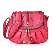 Red Laser Cut Faux Leather Fold Over Pleated Saddle Bag with Zipper Tassel (14.5x5x9 in)