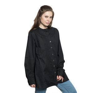 Black 100% Cotton Long Sleeve Pleated Button Up Tunic with High Collar (2X)
