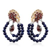 Mozambique Garnet, Lapis Lazuli 14K Gold Over Sterling Silver Earrings TGW 10.14 cts.