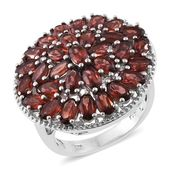 Mozambique Garnet Platinum Over Sterling Silver Cluster Ring (Size 8.0) TGW 8.25 cts.