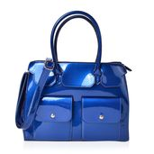 Mega Clearance Royal Blue Faux Patent Leather Double Pocket Satchel Bag with Removable Shoulder Strap (47in) and Standing Studs (13x4x10 in)