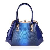 Ombre Blue Snake Skin Embossed and Blue Faux Patent Leather White Austrian Crystal Clutch Style Tote Bag with Removable Shoulder Strap (46in) and Standing Studs (16x5x11 in)