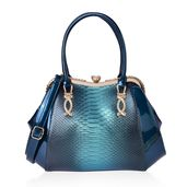 Ombre Turquoise Snake Skin Embossed and Blue Faux Patent Leather White Austrian Crystal Clutch Style Tote Bag with Removable Shoulder Strap (46in) and Standing Studs (16x5x11 in)