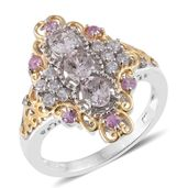 Marropino Morganite, Madagascar Pink Sapphire, Cambodian Zircon 14K YG and Platinum Over Sterling Silver Elongated Ring (Size 10.0) TGW 1.75 cts.