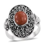 Artisan Crafted Burmese Red Jade Sterling Silver Ring (Size 6.0) TGW 3.31 cts.