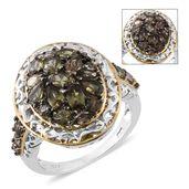 Bekily Color Change Garnet, Thai Black Spinel 14K YG and Platinum Over Sterling Silver Cluster Ring (Size 9.0) TGW 3.64 cts.