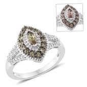 Bekily Color Change Garnet, Cambodian Zircon Platinum Over Sterling Silver Ring (Size 6.0) TGW 1.44 cts.