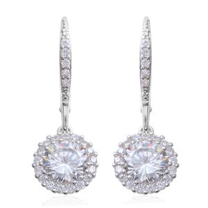 Simulated Diamond Sterling Silver Lever Back Round Halo Earrings TGW 5.05 cts.