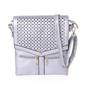 Silver Laser Cut Faux Leather Flap Over Crossbody Bag with Removable Strap (11x9 in)