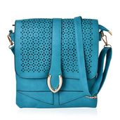 Teal Faux Leather Crossbody Bag (9.4x10.4 in)
