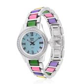 EON 1962 Swiss Movement White Topaz Watch with Burmese Multi Color Jade and Stainless Steel Band TGW 57.60 cts.