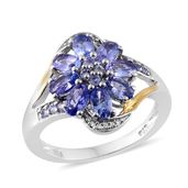 Tanzanite, Cambodian Zircon 14K YG and Platinum Over Sterling Silver Flower Split Ring (Size 7.0) TGW 4.65 cts.
