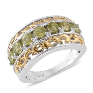 Madagascar Sphene 14K YG and Platinum Over Sterling Silver Openwork 7 Stone Ring (Size 7.0) TGW 1.82 cts.