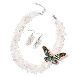 White Crystal Quartz, Multi Color Austrian Crystal, Chroma Goldtone and Stainless Steel Earrings, Brooch With Necklace (19 in) TGW 600.00 cts.