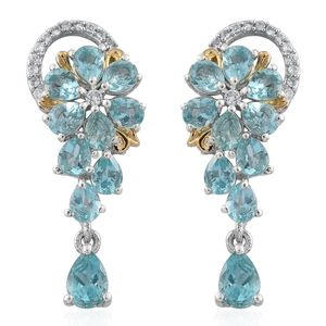 Madagascar Paraiba Apatite, Cambodian Zircon 14K YG and Platinum Over Sterling Silver Floral Earrings TGW 4.24 cts.